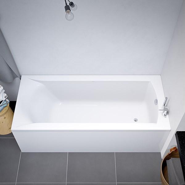 badekar Delta badekar 1400x700mm rekt. akryl avløp ved fotenden med Carronite badekar