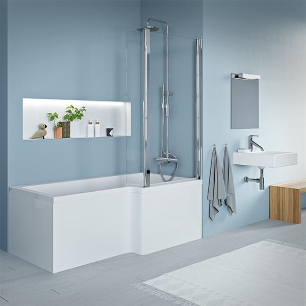 badekar og dusj i ett Quantum badekar 1600x700/850mm akryl med dusj område høyre, Carronite badekar og dusj i ett