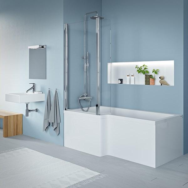 badekar og dusj i ett Quantum badekar 1700x700/850mm akryl med dusj område venstre  badekar og dusj i ett